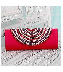 embellished clutch bag, 'lavish pink' (india)