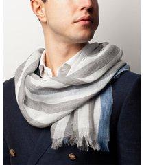 sciarpa da uomo, maalbi, lino grigio righe, primavera estate | lanieri