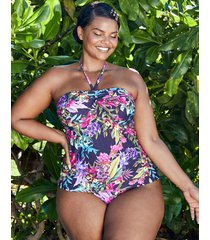 rio tropical curve non-wired twist bandeau tummy control tankini top