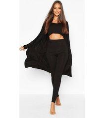 3 piece legging & robe lounge set, black