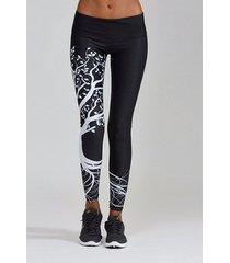 active leggings negros de cintura alta de secado rápido con estampado floral al azar