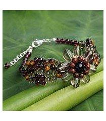 garnet and smoky quartz beaded bracelet, 'floral solitaire' (thailand)