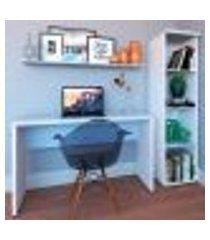 conjunto de mesa com estante e prateleira de escritório corp branco e cinza cristal