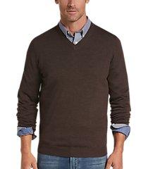 joseph abboud chestnut v-neck merino wool sweater