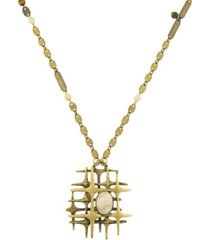 t.r.u. by 1928 brass tone modern midcentury style semi-precious riverstone pendant necklace