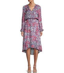 parker women's adele silk floral blouson midi dress - dahlia multi - size m