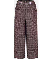 pantaloni a gamba larga di lana da donna casual scozzese a vita bassa