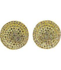 brinco armazem rr bijoux redondo cristais swarovski dourado - feminino