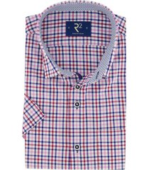 overhemd korte mouwen r2 roze ruit