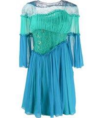 alberta ferretti ruffle-trimmed panelled dress - blue