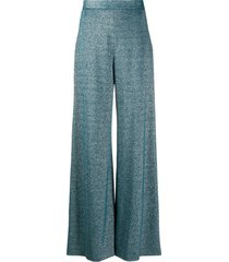 m missoni flared jersey lurex trousers - blue