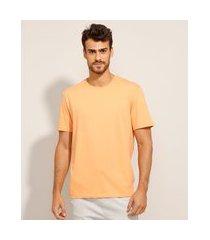 camiseta de algodão básica manga curta gola careca laranja claro