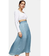 blue crushed satin pleated midi skirt - ice blue