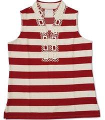 charter club petite striped split-neckline top, created for macy's