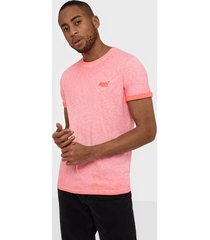 superdry ol low roller tee t-shirts & linnen coral