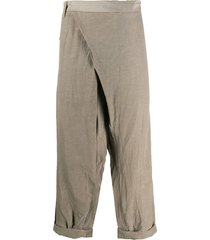 julius wrap front cropped trousers - brown