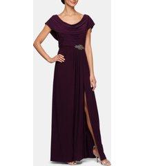 alex evenings embellished-waist cowlneck gown