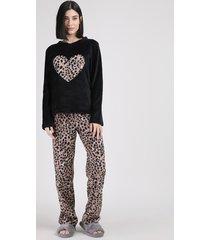 pijama de fleece feminino coração com animal pint onça manga longa preto