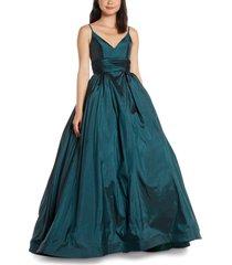 women's mac duggal v-neck satin prom dress, size 14 - green