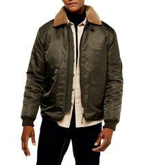 men's topman faux fur borg collar nylon jacket, size x-large - green