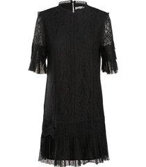summum jurk mixed lace zwart