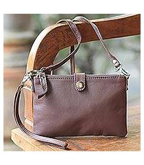 leather wristlet or shoulder bag, 'versatile chic' (indonesia)