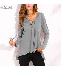 zanzea nuevo de las mujeres con cordones v profundo con capucha tops ocasional de la camisa blusa suelta más el tamaño -gris
