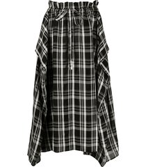 aspesi checked-print draped skirt - black