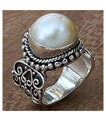 cultured mabe pearl cocktail ring, 'purely white' (indonesia)