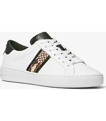 mk sneaker irving in pelle e righe stampa serpente - bianco ottico cangiante (bianco) - michael kors