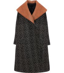 jw anderson oversized wide-collar coat - black