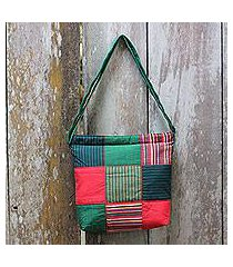 cotton shoulder bag, 'green joglo' (indonesia)