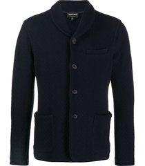 giorgio armani chevron pattern single-breasted cardigan - blue