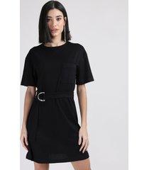 vestido de jacquard feminino curto com bolso e cinto manga curta preto