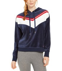 tommy hilfiger sport velour chevron pullover hoodie