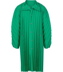 homme plissé issey miyake this oversized pleated coat - green