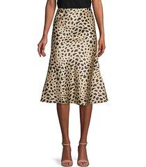 kitty print flare skirt