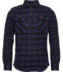 buffalo flannel shirt skjorta casual blå superdry
