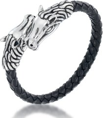 andrew charles by andy hilfiger men's black leather horse head bracelet in stainless steel