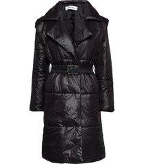 quilted coat gevoerde lange jas zwart ivyrevel