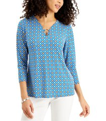 jm collection petite printed ring-embellished top, created for macy's