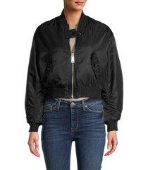 maje women's reversible bomber jacket - black - size 40 (l)