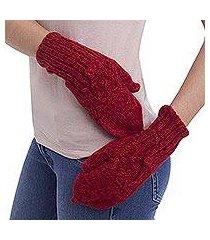 100% alpaca mittens, 'cherry braids' (peru)