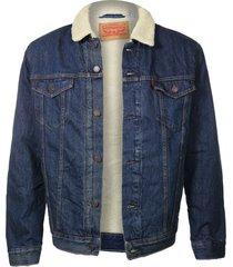 new levi's men's sherpa blue jean denim trucker jacket fur 723360008