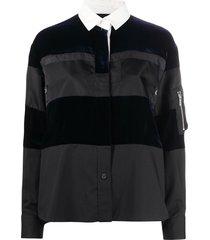 sacai velvet-panel pull-over shirt - black