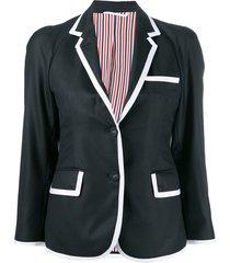 thom browne twill raglan sleeve sports coat - black