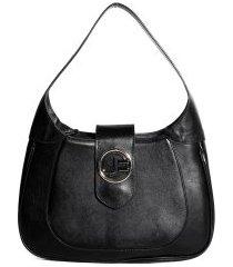 bolsa hobo feminina de mão jorge bischoff em couro preto