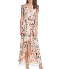 women's eliza j floral ruffle high/low maxi dress
