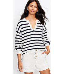 loft stripe textured split neck sweater