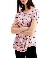 alfani petite floral-print t-shirt, created for macy's